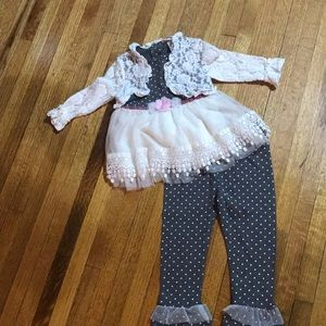 Gray Polka Dot with Cream Lace Little Lass Outfit